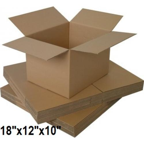 """Single Wall Small Cardboard Boxes 18""""x 12""""x 10"""" Inch - 50 Boxes"""