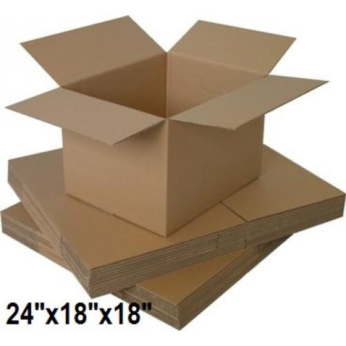 """Single Wall Small Cardboard Boxes 24""""x 18""""x 18"""" Inch - 50 Boxes"""
