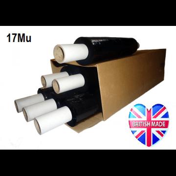 Pallet Wrap Black 17Mu - Box of 6 Rolls - Ext Core - 400mm