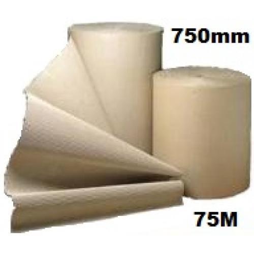 Corrugated Cardboard Paper Roll - 750mm  x 75m (Single Roll)
