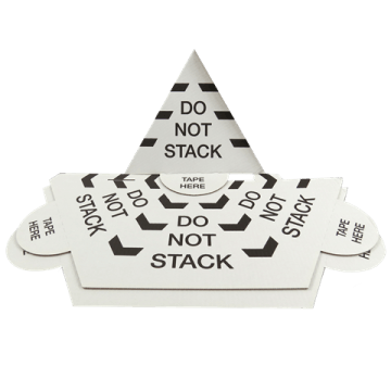 50 X 'DO NOT STACK' Printed Pallet Top Cones Triangles Guards