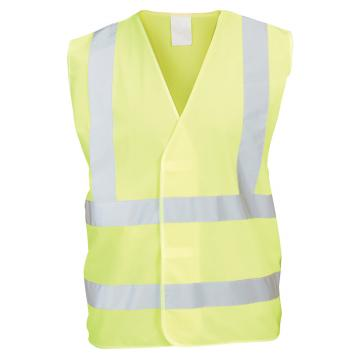 Hi-vis waistcoat with hook and loop fastening and reflective tape.