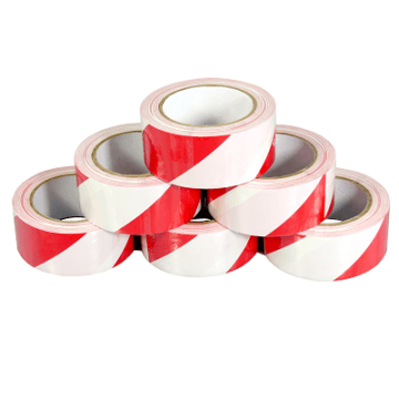 Red/White PVC Hazard Warning Tape 50mm x 33M x 6 Rolls