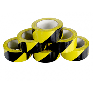 Yellow/Black PVC Hazard Warning Tape 50mm x 33M x 6 Rolls