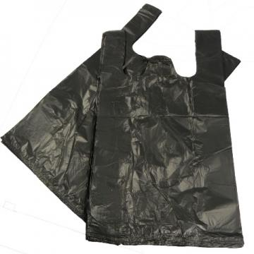 """1000 x Black Plastic Vest Carrier Bags 11x17x21"""""""